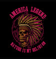 skull indian america legend vector image