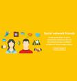 social network friends banner horizontal concept vector image vector image