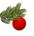 Spruce branch and Christmas tree toy Red holiday vector image