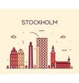 Stockholm skyline linear vector image vector image
