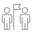 teamwork thin line icon team and people two men vector image vector image