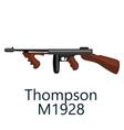 thompson machine gun favorite weapon gangsters vector image