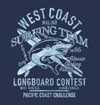 west coast longboard surfing shark team vector image vector image