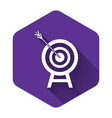 white target with arrow icon isolated with long vector image vector image