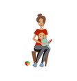 young woman sitting on chair with toddler baby on vector image