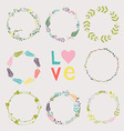 Set with floral wreaths Template for wedding vector image