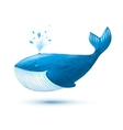 Hand drawn cartoon style blue whale vector image
