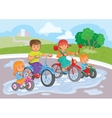 Young children ride bicycles in park vector image