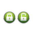 3d padlock security green button symbol design vector image
