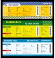 Airline boarding pass modern tickets mockup vector image vector image