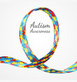 autism awareness colorful puzzle ribbon vector image vector image