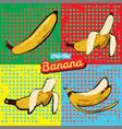 banana opened banana bitten banana peel banana pop vector image
