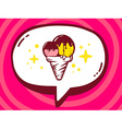 bubble with icon of ice cream on pink pat vector image