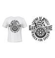 car wheel racing checkered flag t-shirt print vector image vector image