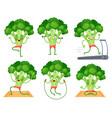 cartoon broccoli character fitness vegetable vector image vector image