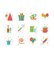 cartoon happy birthday party color icons set vector image vector image
