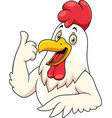 cartoon happy rooster with showing thumbs up vector image vector image