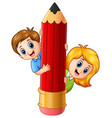 cartoon kids holding pencil vector image vector image