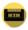 cassette icon audio tape sign flat black vector image vector image