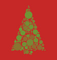 circle pine in christmas tree red background vector image vector image