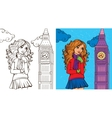 Colouring Book Of Girl In London vector image