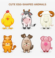 cute pets animals in one set simple egg-shaped vector image vector image