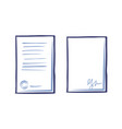 empty sheet of ppaper with signature and page vector image vector image