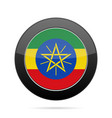 flag of ethiopia shiny black round button vector image vector image