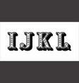 folk alphabet ornamental floral letter i j k l vector image
