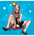 funny cartoon girl with a bottle sitting vector image vector image
