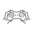 gamepad in handsplaying game line icon vector image vector image