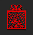 gift box with red christmas tree on dark vector image