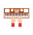 hand with synthesizer electronic instrument vector image