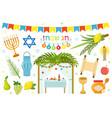 happy sukkot icon set flat cartoon style vector image vector image