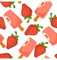 ice cream pink strawberry seamless pattern vector image