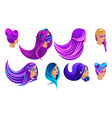 isometric creative hairstyles bright hair color vector image