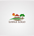 lodge logo with wave beautiful sun template vector image vector image