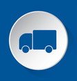 lorry car - simple blue icon on white button vector image vector image