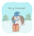 lovely hedgehog and christmas vector image