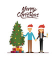 merry christmas card of couple celebrating vector image