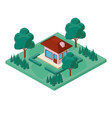 mini tree and house isometric vector image vector image