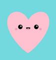 pink heart face head icon cute cartoon kawaii vector image vector image