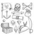 pirate items ship sea adventure elements treasure vector image vector image