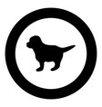 puppy icon black color in circle vector image vector image