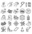 ramadhan set icon doodle hand drawn or outline vector image