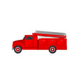 red fire truck emergency vehicle side view vector image vector image
