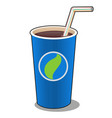 refreshing drink in a blue paper cup with plastic vector image