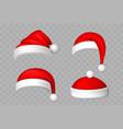 santa claus hat 3d set realistic santa claus hat vector image vector image