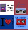 set 8bit pixel art retro music style signs vector image