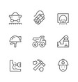set line icons of coal vector image vector image